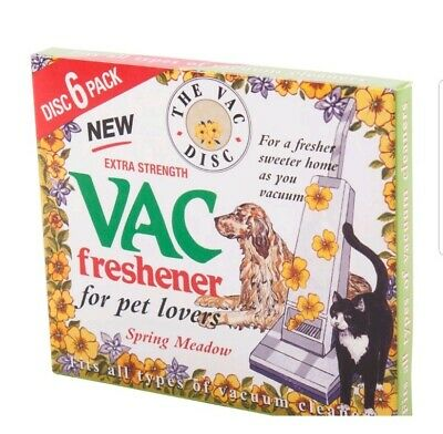 New Extra Strength Vac Air-Fresheners Spring Meadow For Pet Lovers 6 Pack/discs