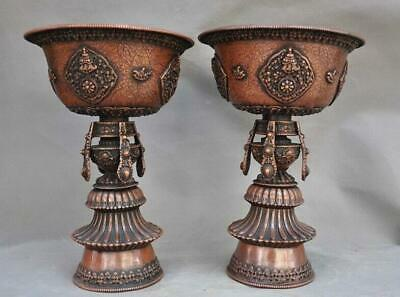 Old Buddhism Bronze Auspicious Eight Treasures Candle Holders Candlesticks Pair
