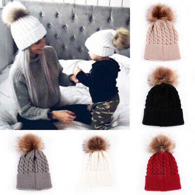 Women Mother Baby Girl Boy Knit Winter Warm Wool Pom Bobble Cute Hat Beanie Cap