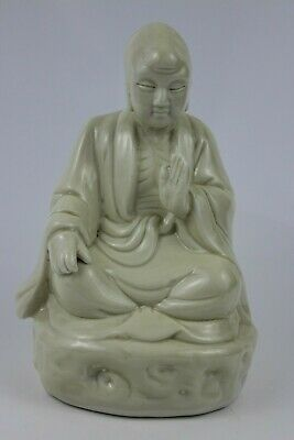 Antique Chinese Dehua Porcelain Arhat Buddha  Meditating Signed 15cm Tall