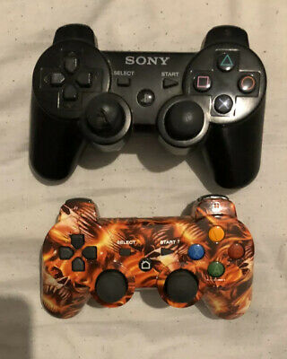 2 Ps3 Wireless Controllers Playstation 3 Game Pads Sony Dual Shock 3 Ghost Rider