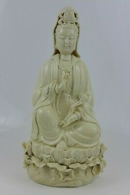 Antique Chinese Dehua Porcelain Guanyin Bodhisattva Ornament Signed 27cm High