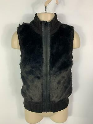 Girls H&M Black Zip Up Knitted Faux Fur Gilet Body Warmer Kids Age 8/10 Years
