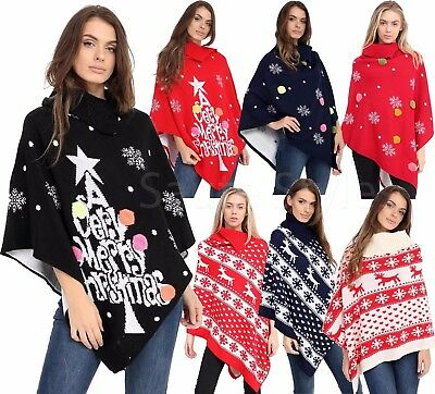Ladies Womens Novelty Winter Retro Knitted Christmas Vintage Cape Jumpers Poncho