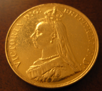 Great Britain 1887 Gold 5 Pounds (5 Sovereigns) Polished Jewelry Grade Victoria