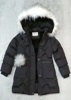 Girl's Faux Fur Pom Pom Hooded Fleece Lined Padded Quilted Long Parka Coat Black