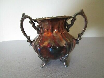 Vintage EPCA Lancaster Rose by Poole #400 Silver Plate Footed Sugar Bowl