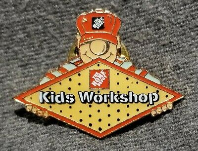 LMH PINBACK Lapel Hat Pin KIDS WORKSHOP Homer HOME DEPOT Employee Apron 1-1/4""