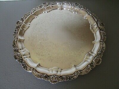 Vintage Poole Silver Co. Old English Silverplate Large Serving Tray Approx 16.5""