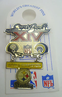 Pittsburgh Steelers Large 2 pc Super Bowl XIV Champions Pin vs Los Angeles Rams