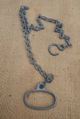 Antique Salvaged Metal Toilet Cistern Pull With Original Chain & Hook