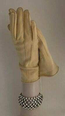 Vintage 1950s Cream Chamois Sheep Skin Button Wrist Evening Gloves Size 7