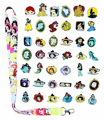 Princess Theme Starter Lanyard Set With 15 Disney Park Trading Pins ~ Brand NEW