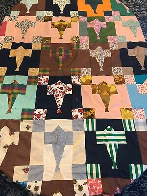 Vintage Patchwork Quilt Top, Hand Stitched, Multi-Colored, Twin?, 65 x 82
