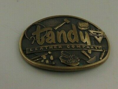 Tandy Leather Advertising Belt Buckle Solid Brass #1440