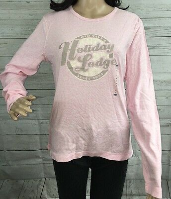 NWT Old Navy Shirt Large Pale Pink Holiday Lodge Logo Long Sleeve Cotton Tee