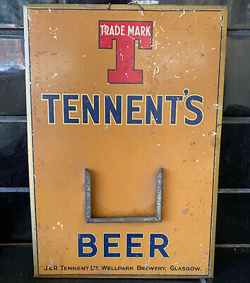 TENNENT's BREWERY BEER Vintage Screen-printed Tin Bar Sign RARE