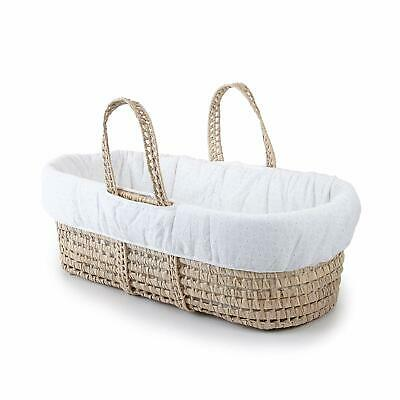 Moses Basket Bedding Set Cotton Natural Woven With Padded Bumper Eyelet One Size