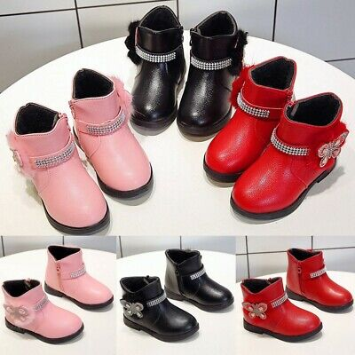 Toddler Girls Kids Winter Zip Baby Princess Warm Shoes Crystal Leather Boots