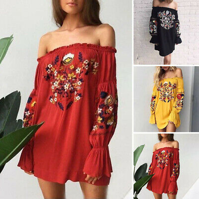 Womens Off Shoulder Short Dress Bell Sleeve Floral Embroidered Beach Dress S-xl