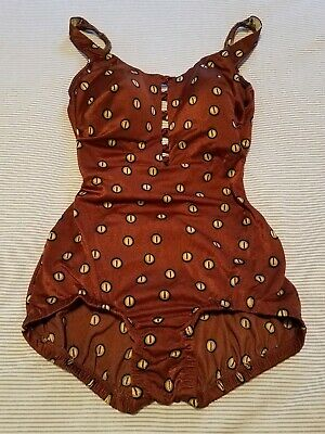 VINTAGE Sandcastle Button Bathing Suit Swim Pinup Size 10 Copper Dots