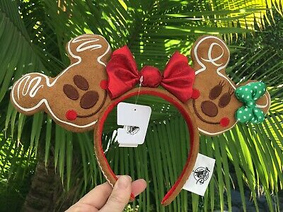 Disney Parks 2019 Mickey & Minnie Mouse Gingerbread Ears Headband Adult NWT