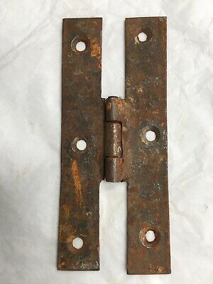 Antique Hand Forged Wrought Iron H Hinge Hardware Reclaimed 4 5/8""