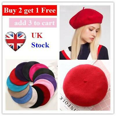 Women Gift Wool Beret Cap Flat Cap Autumn Warm Felt Beret Hat French Artist Hats