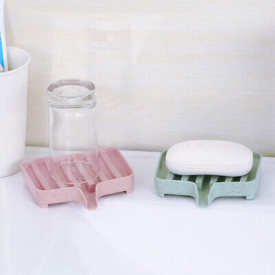 Bathroom Soap Dish Holder Bath Shower Tray Sponge Drain Storage Rack Soapbox