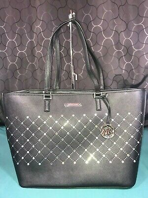 MICHAEL KORS WHITE Leather Large Violet Saffiano Carryall