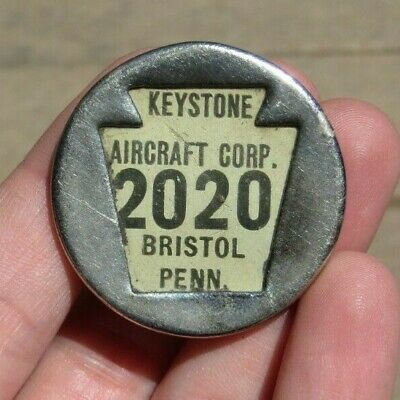 Keystone Aircraft Factory Manufacturer ID Identification Employee Badge Pin
