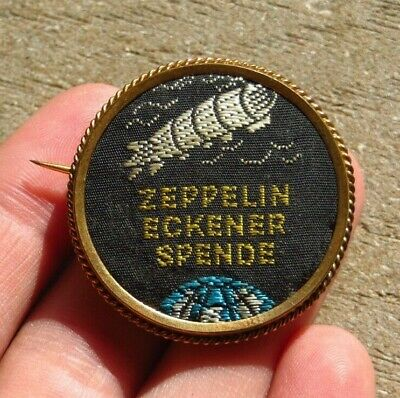 (1925) Zeppelin Eckener Woven Silk Gilt Framed Spende Circle Badge