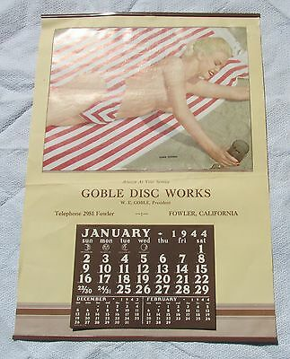 Vintage 1944 Pin Up Calendario Goble Disco Obras Fowler ca Dorie Stevens