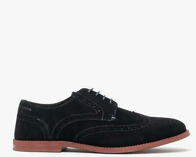 Silver Street London HOBART Mens Genuine Suede Lace Up Brogue Derby Shoes Navy