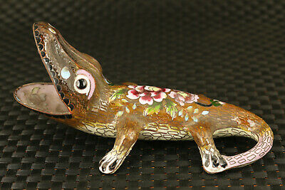 big Chinese old cloisonne Hand painted lizard statue noble table decoration