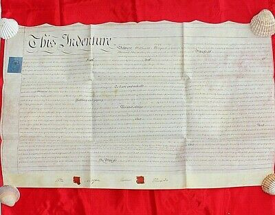 Vellum indenture Antique document Lease Brecon Edwards 1820 Wales History 6f