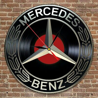 Mercedes-Benz inspired Vinyl Record Round Clock 3D Wall Decor Art Gift for men