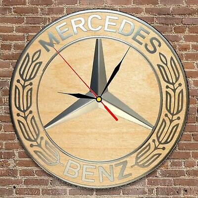 Mercedes-Benz inspired Wooden Wood Round Clock 3D Wall Decor Art Gift for men