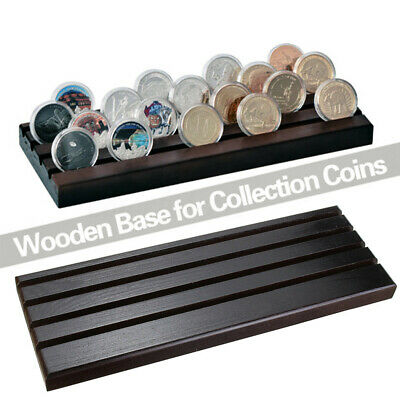 4-Row Wooden Challenge Coin Display Stand Collectible Holder Case Rack Xmas Gift