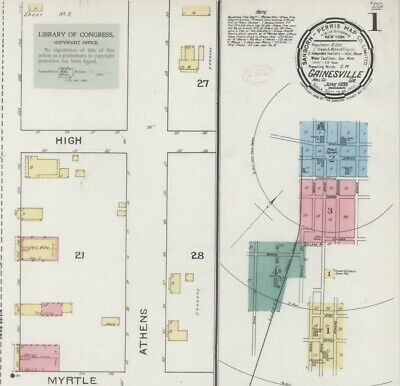 Gainesville, Georgia~ Sanborn Map©sheets~1893 with 4 map sheets in color on CD