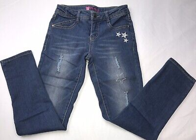 BEAUTEES Girls Distressed Jeans Med Wash with Stars SZ 10