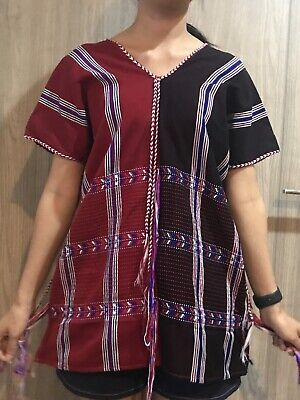 Handwoven Dress Karen Traditional Tribal Cotton Vintage Thai Casual X'mas Gifts