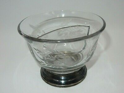 Vintage Whiting Etched Glass Divided Bowl W/ Sterling Silver Footed Banding