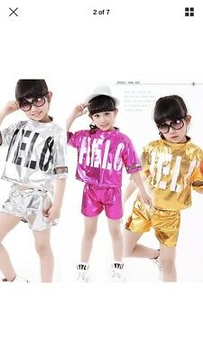 *New* Size 12-13 Years Pink Shiny Shorts And Top Set - Dance / Hip Hop