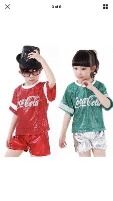 *New* Size 5-6 Years Old Green Sequin Short & Top Set - Dance / Hip hop