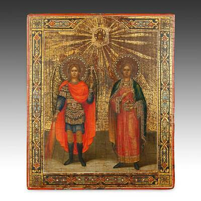 Russian Icon Archangel Michael St Peter Painted Wood Silver Panel Russia