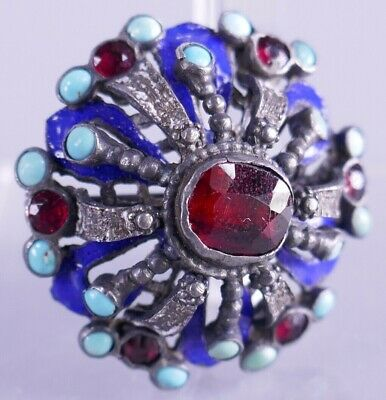 Antique Russian Silver Enamel Turquoise & Rubies Pin Brooch Imperial Jewelry
