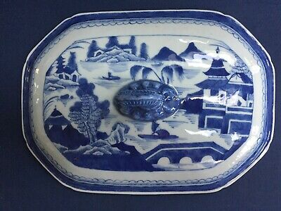 Antique Chinese Export Blue & White Canton Soup Tureen Cover Only