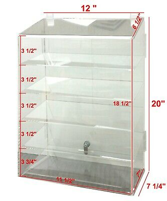 Hi Quality Clear Acrylic Retail Display Case 5 Shelf w/Dbl Security Lock USA NIB