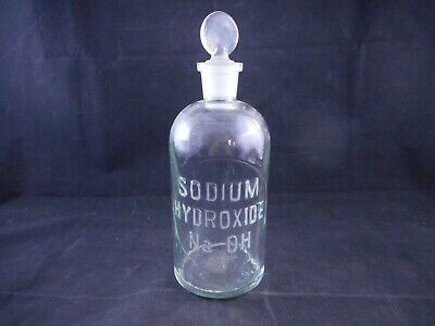 WHEATON Glass 500mL Apothecary Bottle SODIUM HYDROXIDE NaOH Labeled with Stopper